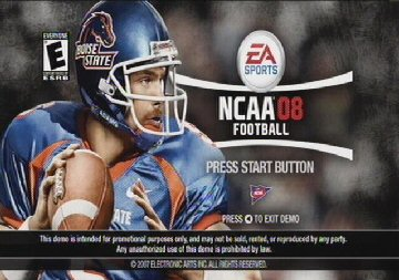 NCAA Football 08 demo screen
