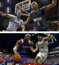 Screenshot comparison: College Hoops 2K8 vs March Madness 08