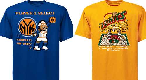 8dc85c7c316 Earlier today I stumbled upon some new t-shirts being sold by the NBA that  leverage the retro nature of old school video games. Based on the wave of  social ...