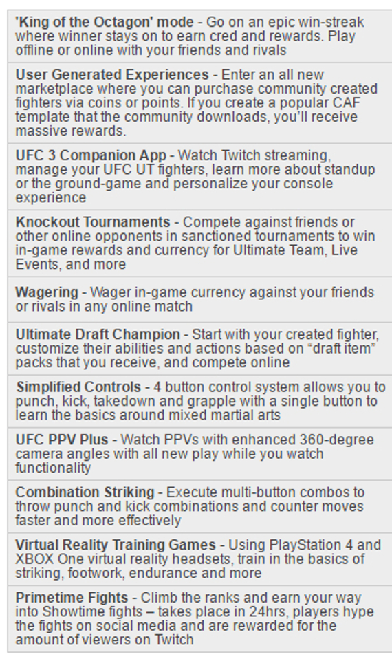 EA Sports UFC 3 possible features