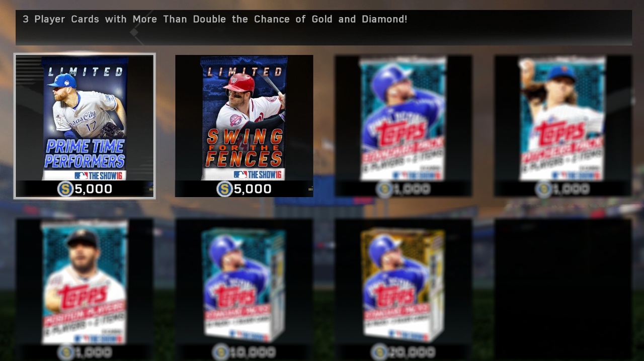 MLB The Show 16 Prime Time Performers and Swing for the Fences Packs