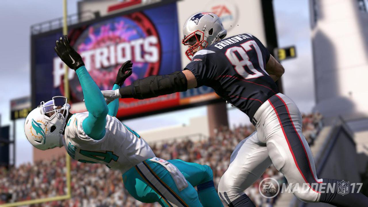 Rob Gronkowski stiff arm Madden NFL 17