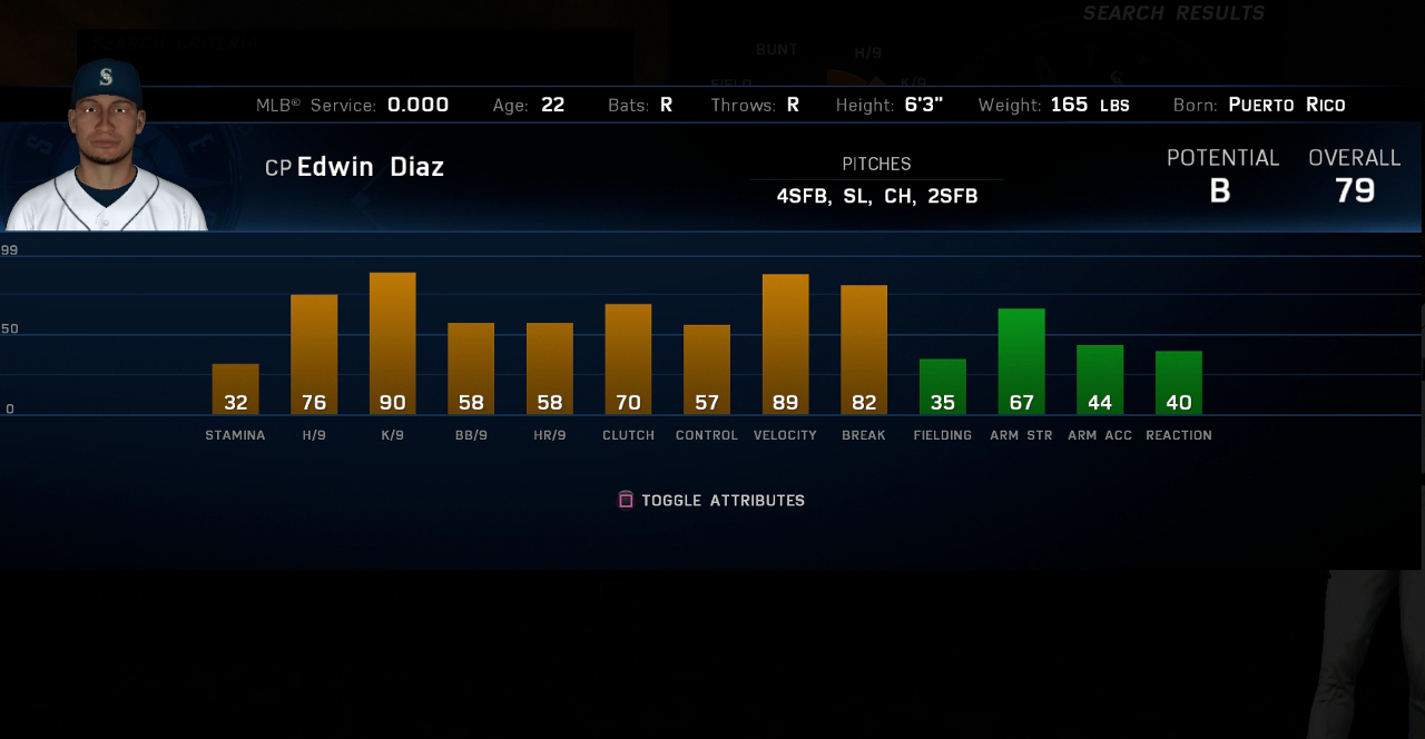 MLB The Show 16 Edwin Diaz ratings